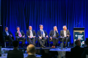 Mr Ingilby Dickson (Session Chair), Mr Craig Wickham, Mr Brad Tully, Mr Ian Ross,  Mr Richard Hancock, Mr Rob Perkins. Day 2. ALC Forum 2014. Australian Logistics Council. Royal Randwick Racecourse. Sydney. Photo: Pat Brunet/Event Photos Australia